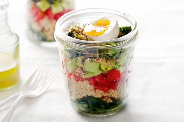 Egg and quinoa in a jar